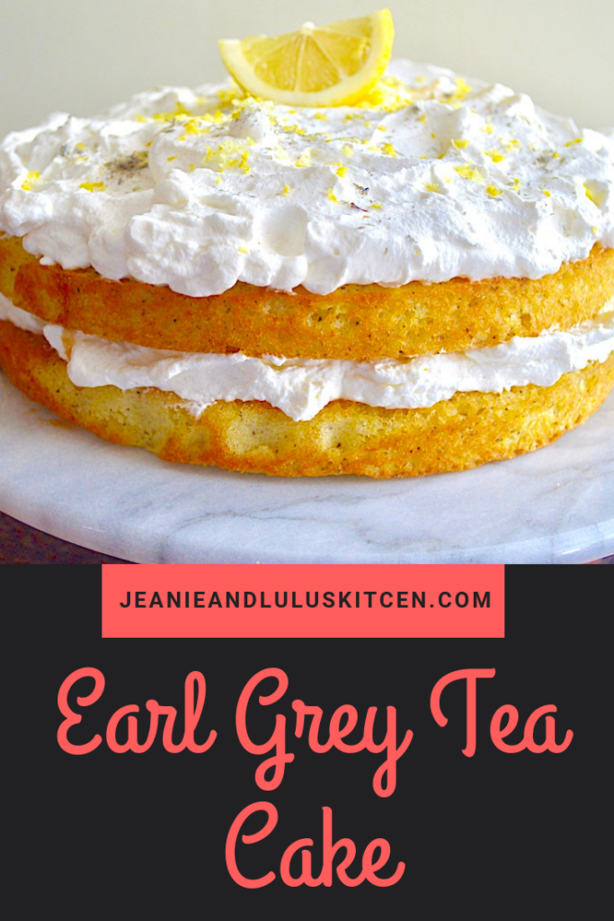 This earl grey tea cake is such a gorgeous confection with notes of lemon and lavender in the sponge cake, all layered with a fluffy lemon whipped cream. #cake #teacake #earlgrey #earlgreyteacake #jeanieandluluskitchen