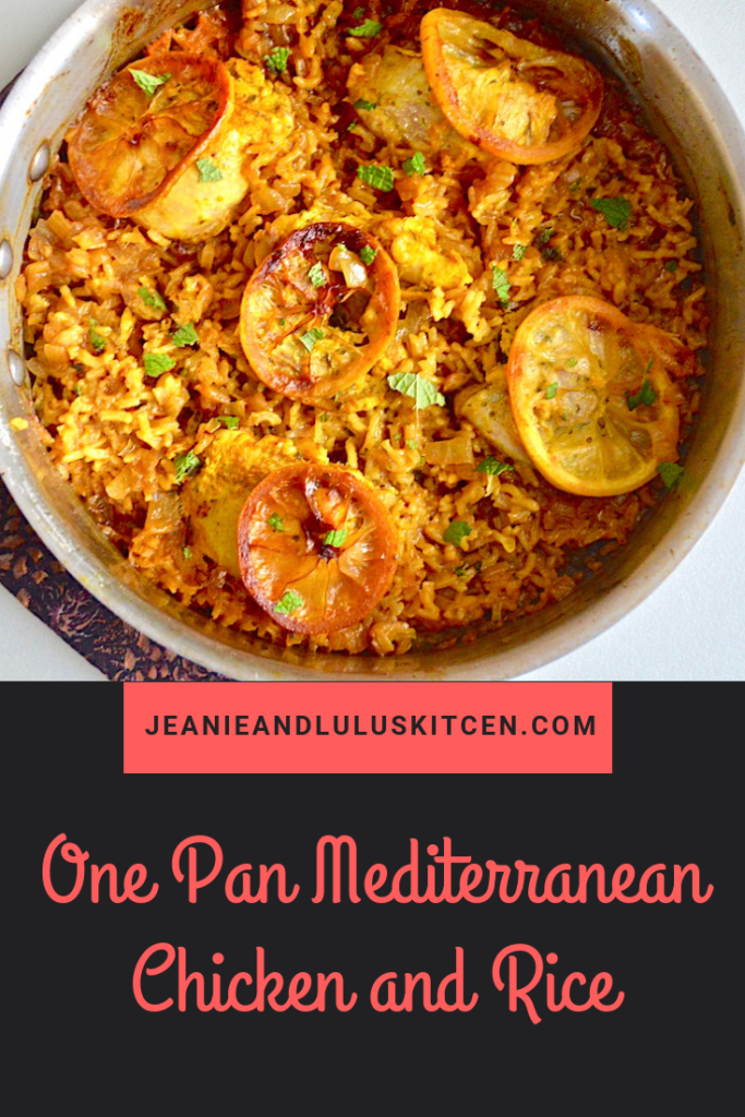 This one pan Mediterranean chicken is truly a wonder with lots of warm spices, lemon, and rice all baked together into a complete meal. #chicken #chickendinners #onepanmeals #onepanmediterraneanchickenandrice #jeanieandluluskitchen