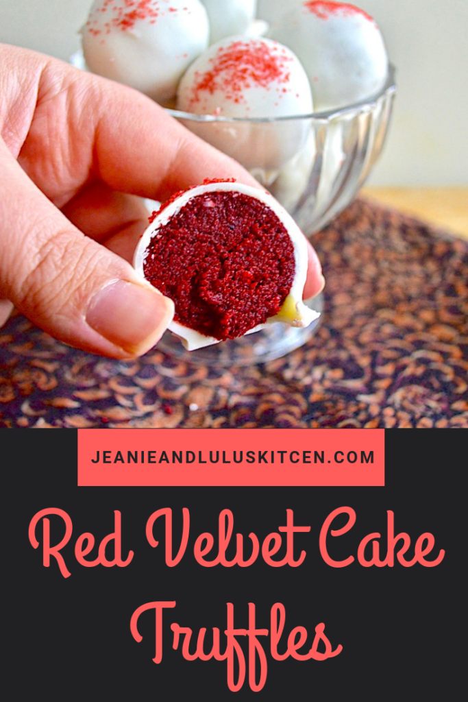 These are such decadent red velvet cake truffles that are so fun for dessert. The white chocolate shell and tender cake center work so well together! #dessert #truffles #redvelvetCake #redvelvetcaketruffles #jeanieandluluskitchen