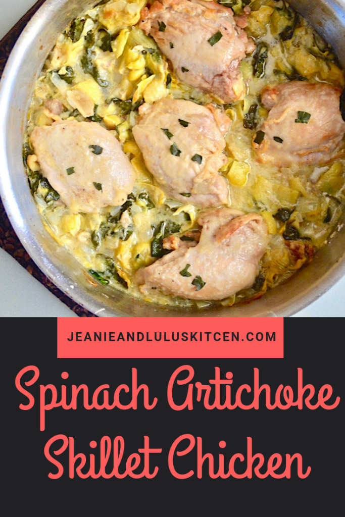 This spinach artichoke skillet chicken is so flavorful and simple for dinner! Serve it with your favorite sides or over pasta for a complete meal. #chicken #dinners #skilletdinners #spinachartichokeskilletchicken #jeanieandluluskitchen