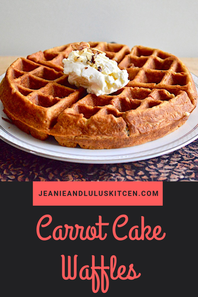 These carrot cake waffles are so fluffy and gorgeously flavored with a luscious cream cheese topping! They are so perfect for Easter brunch. #waffles #breakfast #brunch #easter #carrotcakewaffles #jeanieandluluskitchen