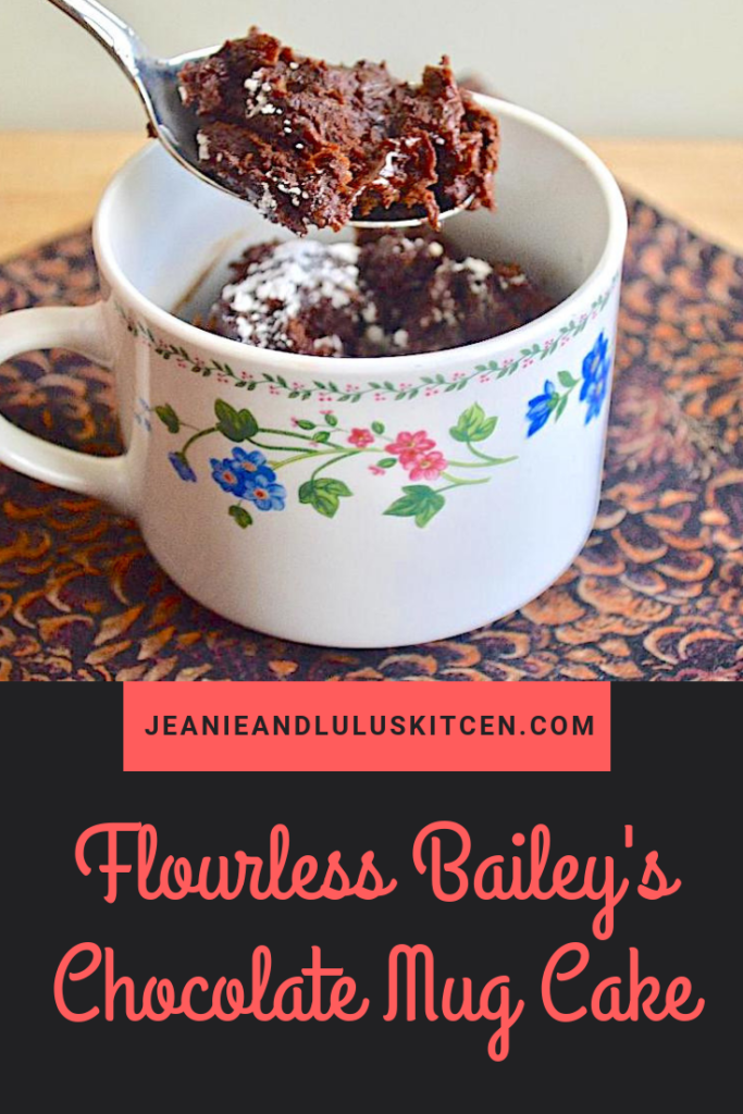 This flourless Bailey's chocolate mug cake is so incredibly simple and a great way to serve up single servings for a fun St. Patrick's Day dessert! #cake #chocolate #dessert #mugcake #jeanieandluluskitchen