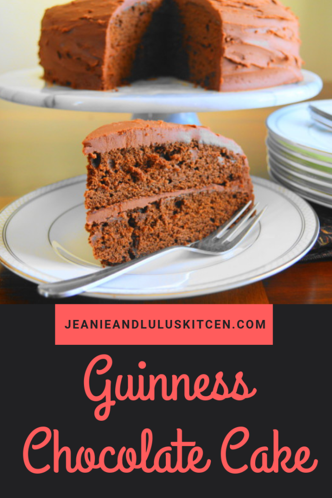 This incredibly decadent Guinness chocolate cake is so luscious and flavorful. It's the perfect dessert to celebrate St. Patrick's day! #cake #chocolate #guinness #stpatricksday #jeanieandluluskitchen
