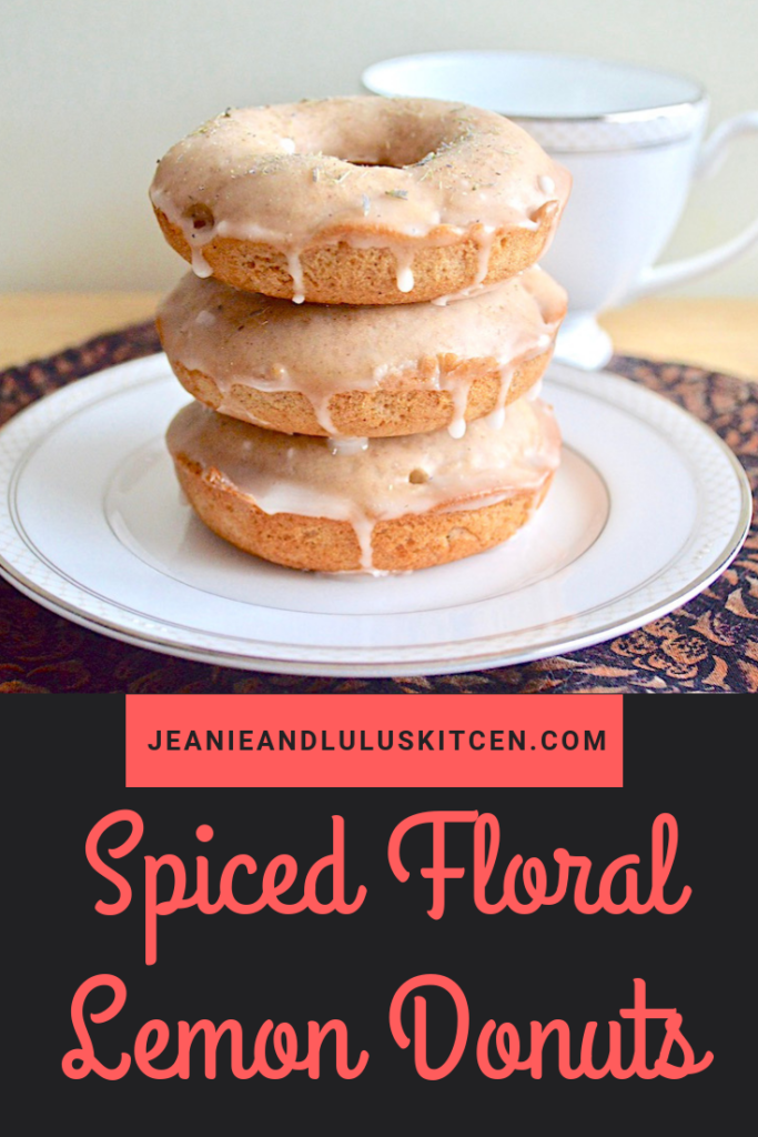 These spiced floral lemon donuts are such wonderfully flavored treats with lots of warm Middle Eastern spices, lemon, rose water and lavender! #donuts #breakfast #dessert #jeanieandluluskitchen