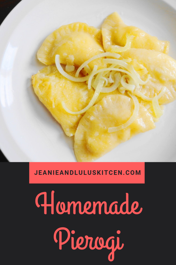 Homemade Pierogi filled with a luscious potato and cheese filling. Serving them alongside a ring of kielbasa made for the perfect Polish feast! #pierogi #homemadepierogi #polishfood #potatopierogi #jeanieandluluskitchen