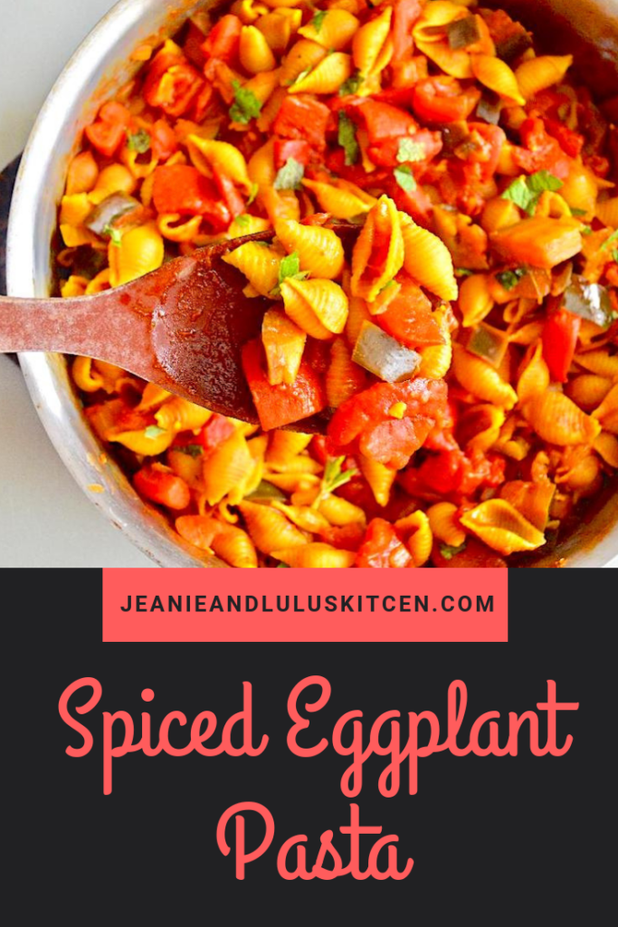 The spiced eggplant pasta is such a simple and wonderful vegetarian one pan wonder! It all gets baked to perfection with parmesan and mint on top. #pasta #vegetarian #eggplant #spicedeggplantpasta #jeanieandluluskitchen