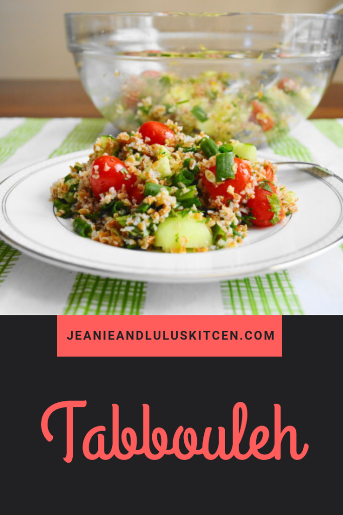 Tabbouleh is such a light and refreshing salad. It's fully loaded with tender bulgur wheat, veggies, herbs and lots of lemon! #salad #tabbouleh #vegan #jeanieandluluskitchen #bulgarwheat