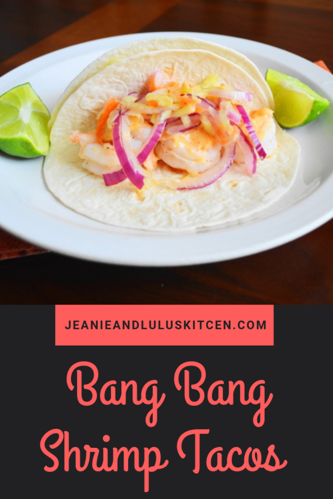 Inspired by a wonderful date night at Bonefish Grill, these Bang Bang Shrimp Tacos are my version of one of their famous signature dishes! #tacos #bangbangshrimptacos #shrimp #seafood #dinner #jeanieandluluskitchen
