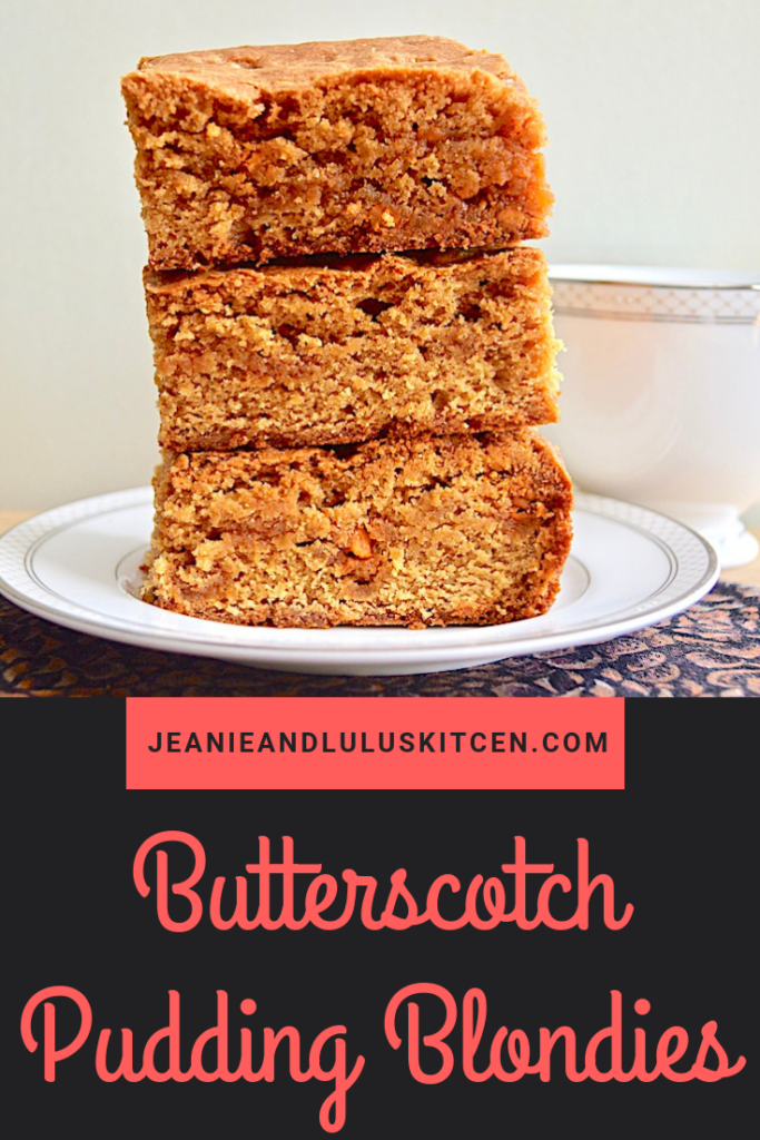These butterscotch pudding blondies are so fluffy and flavorful for dessert! The pudding mix and butterscotch chips make every bite delicious. #blondies #dessert #butterscotch #butterscotchpuddingblondies #jeanieandluluskitchen