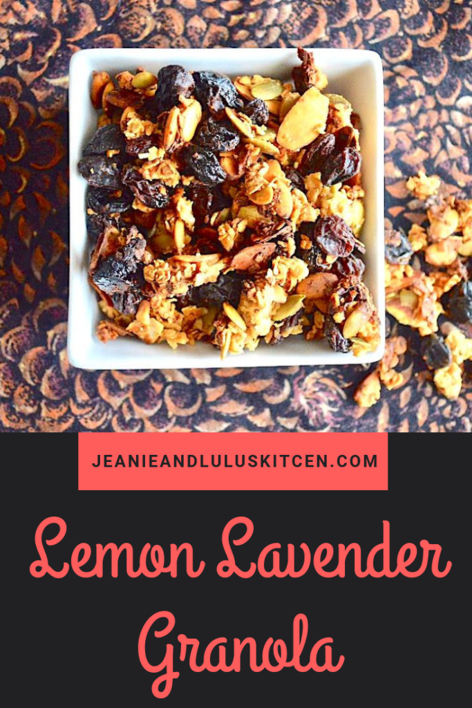 This lemon lavender granola is so chock full of goodies with lovely flavor that just screams spring! Perfect for breakfast or snacking. #granola #snacks #lemonlavendergranola #nuts #oats #jeanieandluluskitchen