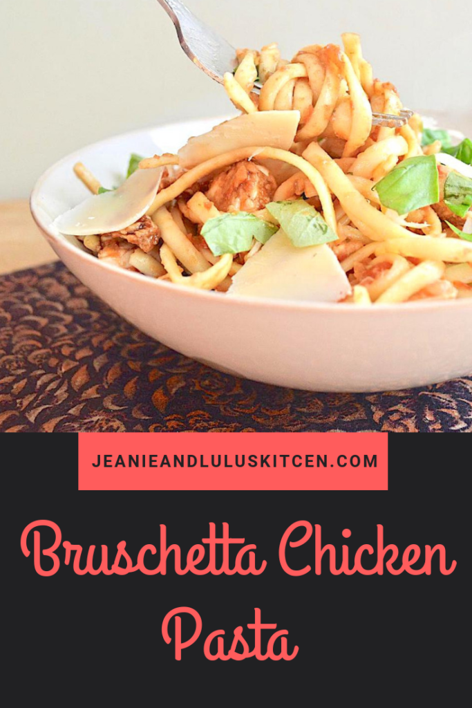 This bruschetta chicken pasta is such a fresh and hearty play on the favorite Italian canape with a lovely tomato mixture and tender linguine! #dinner #chicken #pasta #bruschetta #bruschettachickenpasta #jeanieandluluskitchen