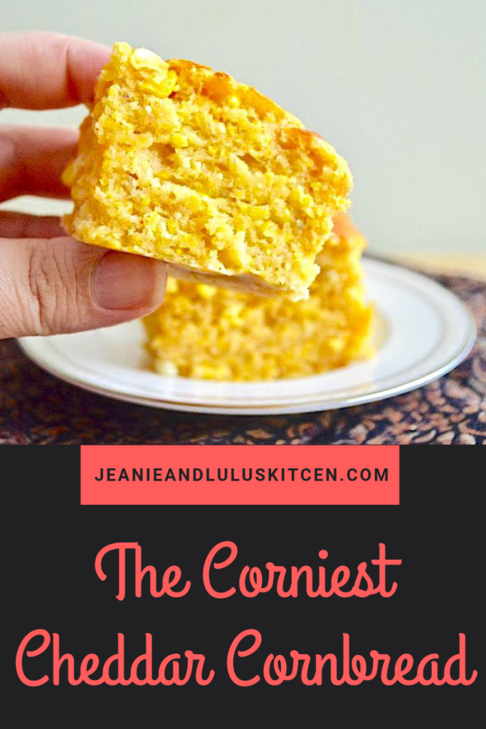 You will want the corniest cheddar cornbread on the side of all of your favorite hearty meals, like chili and soups! It's so easy to make too. #cornbread #corn #cheddar #thecorniestcheddarcornbread #jeanieandluluskitchen