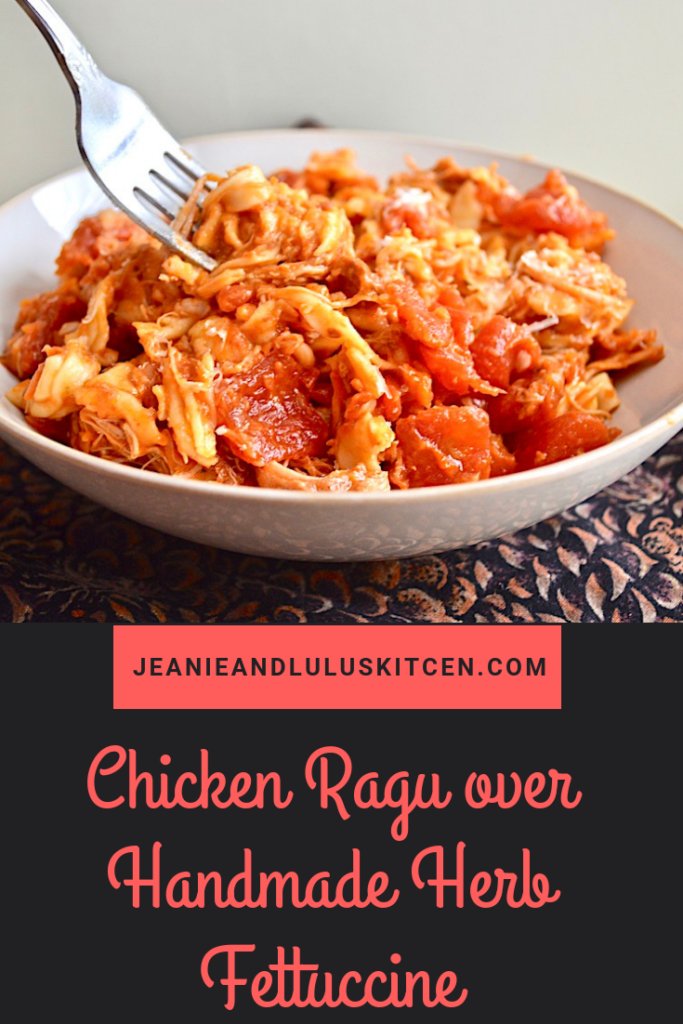 This chicken ragu is so flavorful with the chicken fall apart tender in a gorgeous tomato sauce, served over handmade pasta! #pasta #dinner #chicken #chickenragu #jeanieandluluskitchen
