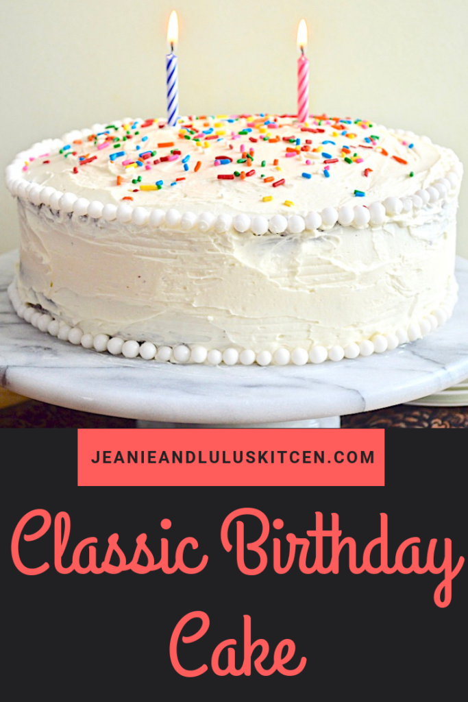 This an incredible classic birthday cake with a decadent chocolate cake slathered in a vanilla swiss meringue buttercream for the best of both worlds! #cake #dessert #classicbirthdaycake #chocolate #jeanieandluluskitchen