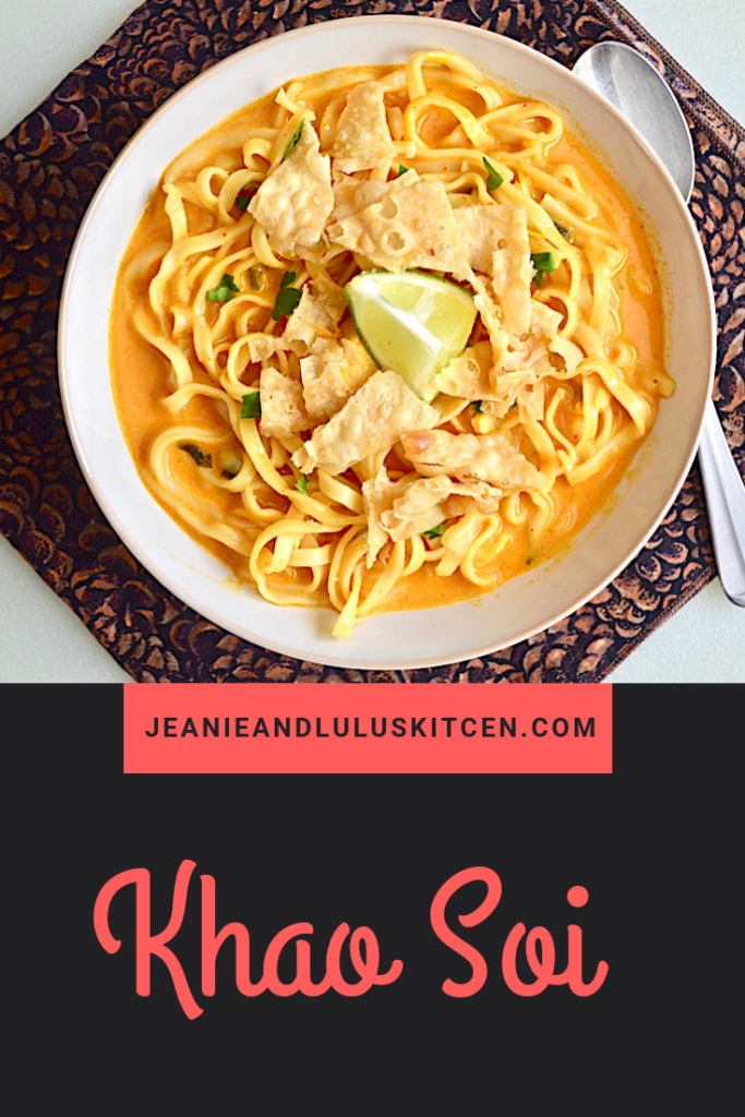 Khao soi is an absolutely incredible, flavor packed Thai chicken noodle soup. The spicy curry paste is perfectly offset by the coconut milk. #khaosoi #chicken #soup #curry #jeanieandluluskitchen