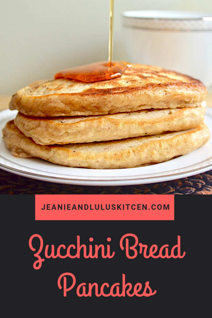 These fluffy zucchini bread pancakes are such a wonderful breakfast or brunch that you can make ahead and freeze! Great for sneaking in veggies. #pancakes #zucchini #zucchinibreadpancakes #breakfast #jeanieandluluskitchen