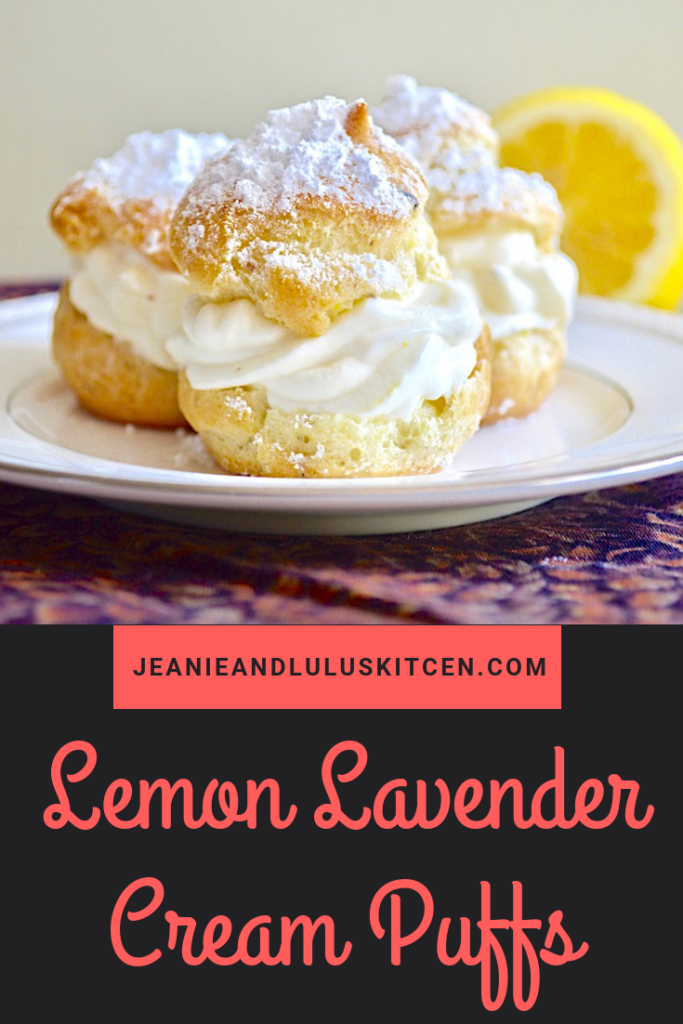 These lemon lavender cream puffs are so elegant for dessert! The choux pastry and luscious lemon curd and cream filling are incredible together. #dessert #creampuffs #lemonlavendercreampuffs #chouxpastry #jeanieandluluskitchen