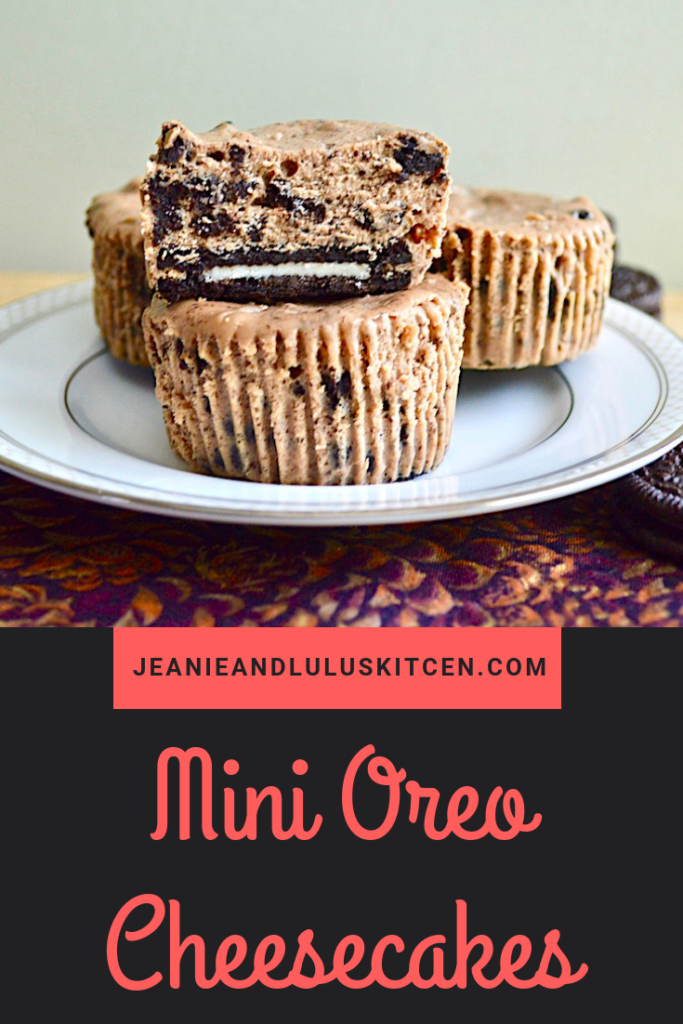 These mini oreo cheesecakes are such a decadent, wonderful treat that come together quickly! The crusts and cake batter are both really simple. #cheesecake #dessert #minidesserts #oreos #minioreocheesecakes #jeanieandluluskitchen