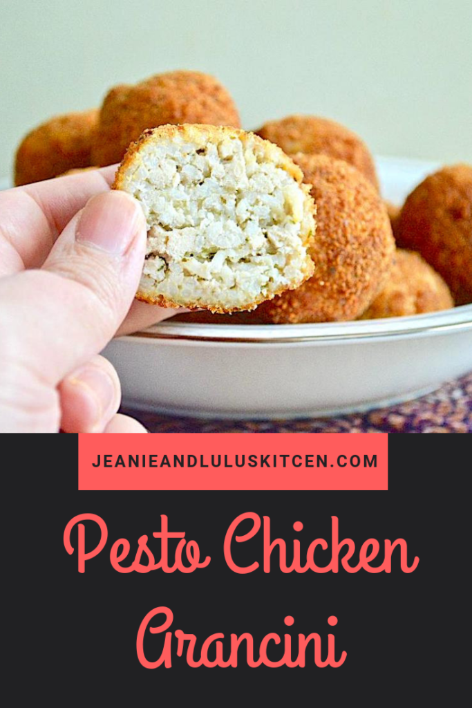 When it comes to street food, it doesn't get much better than arancini. This pesto chicken arancini is incredible with so much texture and flavor. #arancini #rice #pesto #chicken #pestochickenarancini #jeanieandluluskitchen