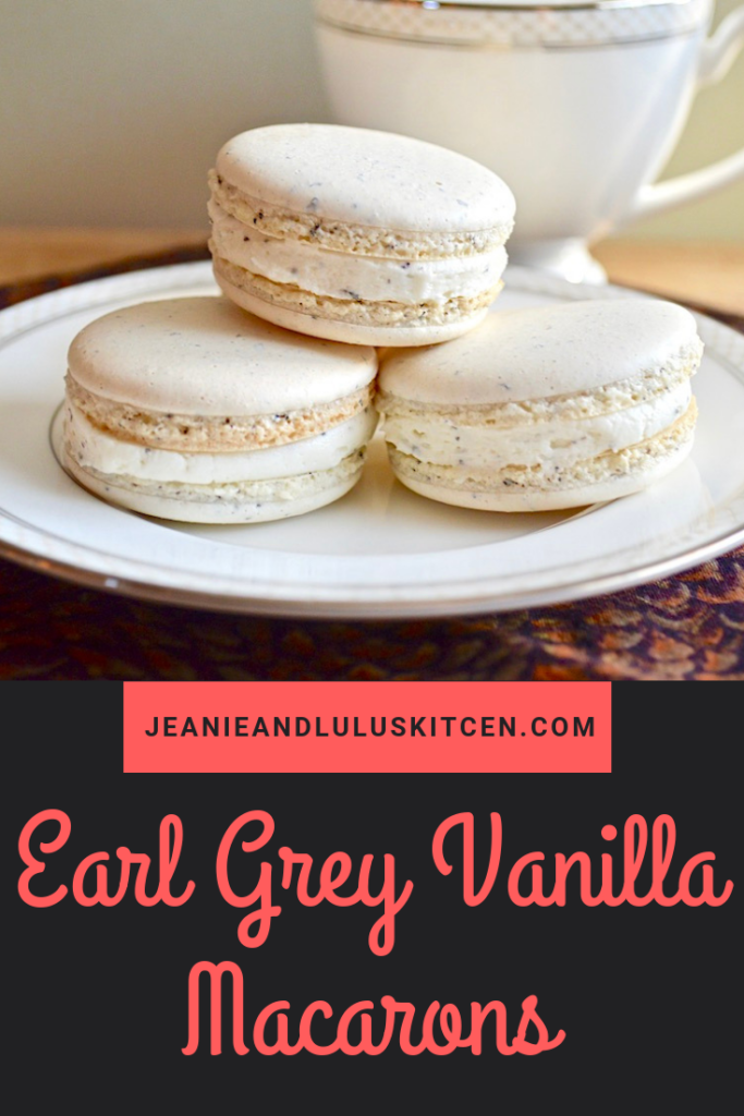Delicate and elegant, these earl grey vanilla macarons are a perfect addition to any dessert table. They are completely doable and you can make them ahead! #macarons #cookies #dessert #earlgreyvanillamacarons #jeanieandluluskitchen