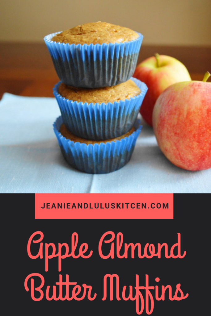 Apple almond butter muffins taste so decadent that you would never know they're healthy and gluten free! #muffins #breakfast #apple #applealmondbuttermuffins #jeanieandluluskitchen