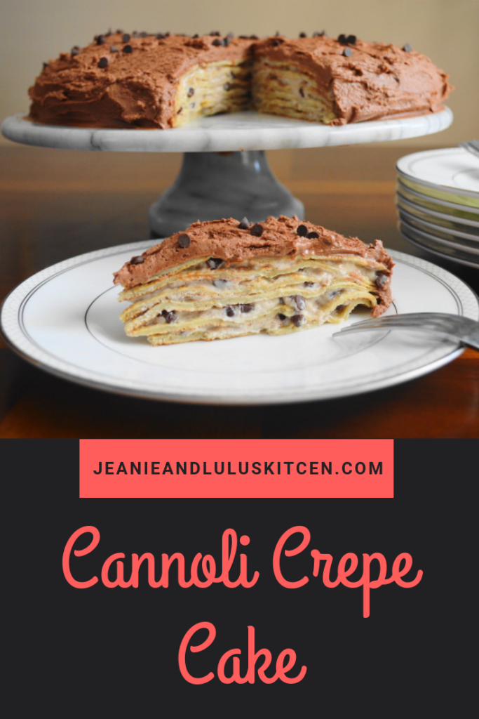This cannoli crepe cake is such a show stopper! Luscious cannoli cream gets layered between tender crepes and frosted with chocolate buttercream. #cake #dessert #cannoli #crepes #cannolicrepecake #jeanieandluluskitchen