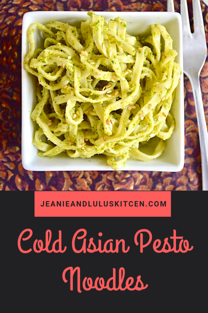 These cold asian pesto noodles could not be more simple to make or fun to eat! They're refreshing, super flavorful and light for a summer meal. #noodles #coldnoodlesalad #coldasianpestonoodles #dinner #jeanieandluluskitchen