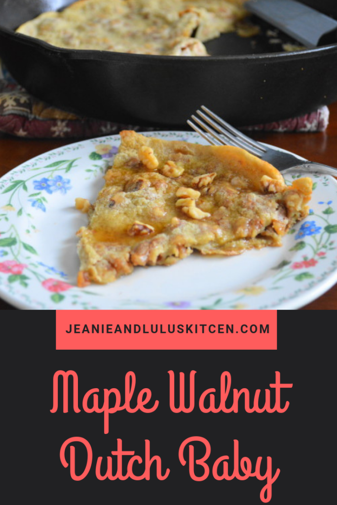 This maple walnut dutch baby is so easy to make! It puffs up gorgeously in the oven and has loads of flavor. Just cut and serve for a sweet brunch! #breakfast #brunch #pancake #dutchbaby #maplewalnutdutchbaby #jeanieandluluskitchen