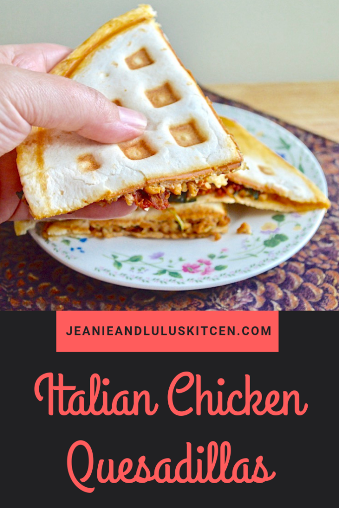 These Italian chicken quesadillas are such a simple, flavorful and wonderful dinner. Cooking them in a waffle iron gives them great texture, too! #chickenquesadillas #chicken #cheese #dinners #jeanieandluluskitchen