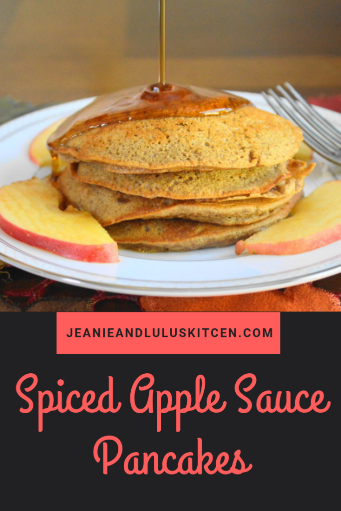 Spiced apple sauce pancakes are fluffy, flavorful bites of Fall! Make the batter the night before for an easy, incredible brunch in the morning. #pancakes #brunch #breakfast #spicedapplesaucepancakes #jeanieandluluskitchen