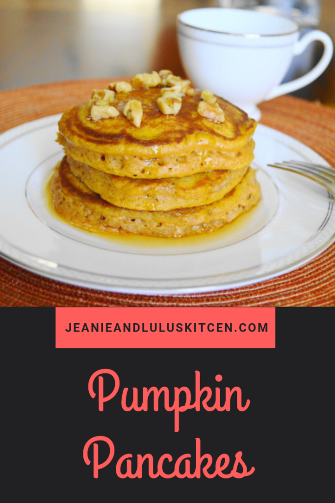 These pumpkin pancakes are so fluffy and full of great fall flavor. They are truly an incredible brunch favorite! #pancakes #pumpkin #breakfast #brunch #pumpkinpancakes #jeanieandluluskitchen