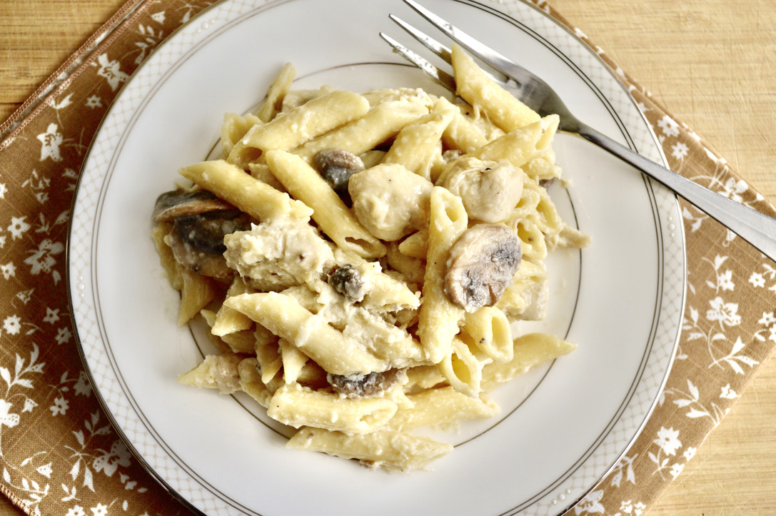 Roasted Garlic Chicken and Mushroom Alfredo